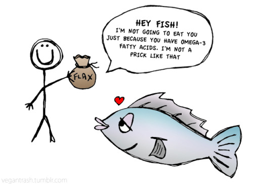 "Plant-based omega-3s, hooray! ""Fish are friends, not food."" vegantrash:  HEY HUMANS! Look at these plant-based sources of Omega-3 fatty acids that don't bother our friends from the ocean.  GOOD SOURCES OF OMEGA-3s Romain Lettuce Brussel Sprouts Winter Squash Raw Tofu Summer Squash Collard Greens Spinach Kale Soybeans Turnip Greens Strawberries Green Beans Raspberries Miso BETTER SOURCES OF OMEGA-3s Cloves Oregano Cauliflower Mustard Seeds Cabbage Broccoli  THE BEST SOURCES OF OMEGA-3s Flaxseeds Walnuts Chia Seeds"