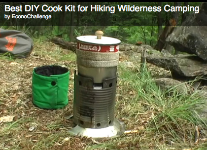 Oh my, an ingenious DIY cook kit for camping! Looks like it would easily serve one, but also very easy to make more of the kits.