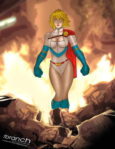 Power Girl doesn't look back at your puny explosions!