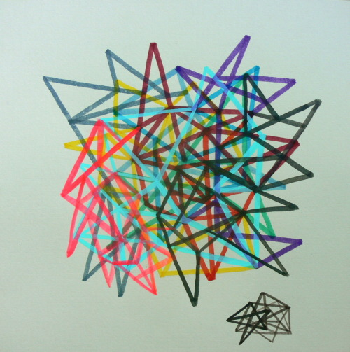 Stephen Linksvayer needed a geometrical drawing. Ink, gouache, marker 12x12 in.