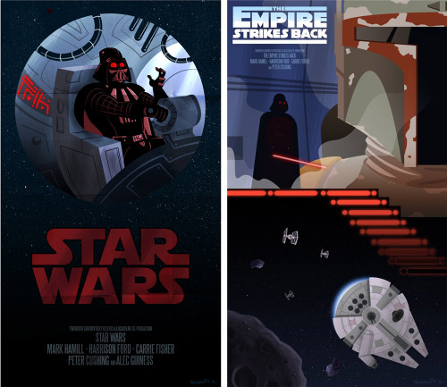 justinrampage:  A New Hope and The Empire Strikes Back get a stylized Star Wars poster redesign by artist Matt Synowicz. Related Rampages: Mario Mushroom | Stay Puft 2010 (More) A New Hope / Empire by Matt Synowicz (Tumblr) (Facebook)