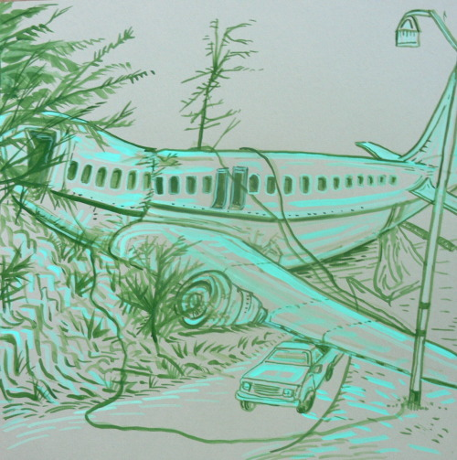 Jeff Julian needed a drawing of a plane crash. Gouache 12x12 in.