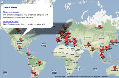 Mapping Google's Transparency Report Every six months Google releases a report outlining how many times governments either ask it to remove content uploaded to its various services (eg., YouTube), or request data about specific Google users (eg., you). Shown here is an overview for the United States. Via Google:  Like other technology and communications companies, Google regularly receives requests from government agencies and federal courts around the world to remove content from our services and hand over user data. Our Government Requests tool discloses the number of requests we receive from each government in six-month periods with certain limitations. Some content removals are requested due to allegations of defamation, while others are due to allegations that the content violates local laws prohibiting hate speech or pornography. Laws surrounding these issues vary by geographic region, and the requests reflect the legal context of a given jurisdiction.  The report does not provide specifics on whose data is being requested or what content is being asked to be removed.