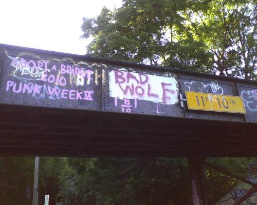 damnarbor:  Bad Wolf. Bad Wold graffiti, on the Felch St. railroad bridge. Looks like some Doctor Who fan in Ann Arbor found some paint.