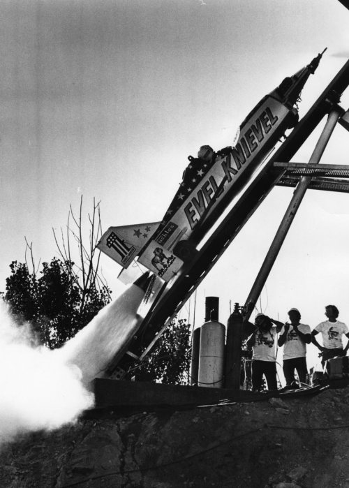 SkyCycle X2 test firing. photo by Dale Swanson - The Oregonian Sept 8, 1974.