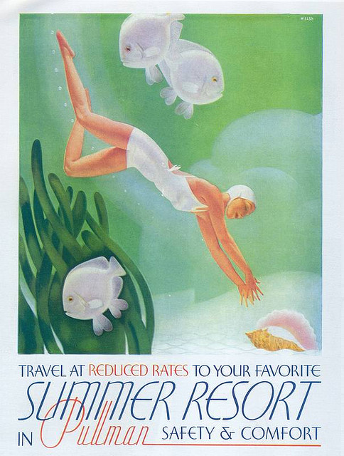 "girlflapper:  Pullman, 1937 on Flickr. From Taschen's ""All-American Ads of the 30s"". Click image for 605 x 800 size."