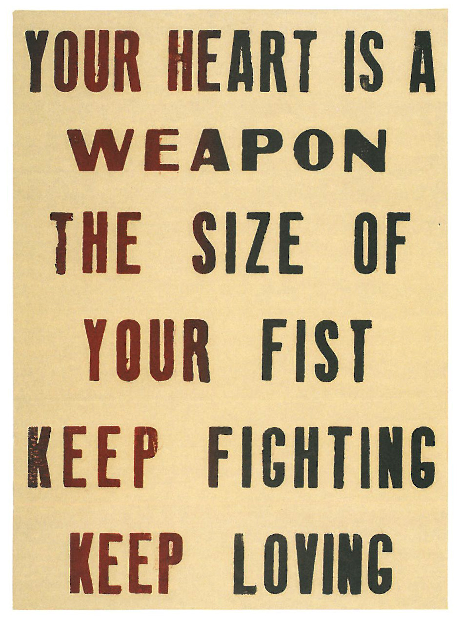Pure Evil Your Heart is a Weapon the Size of Your Fist Woodcut on paper.