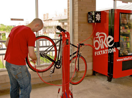 A Super Idea: A Bike-Part Vending Machine  The kiosk in Minneapolis, called Bike Fixtation, offers basic bike tools, a repair stand, and a vending machine full of useful goodies, including tubes, lights, patch kits, and snacks.  Why haven't they thought of this before, everywhere? … great, simple, and useful innovation for everyone. Love this.   via GOOD.