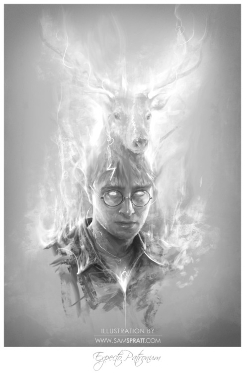 """Expecto Patronum"" - Portrait of Harry Potter by Sam Spratt Decided to stick to black and white for this one, It has been ages since I've read the books but I was always fond of the idea of a Patronus as described by Rowling—Harry's ""Stag"" of course being the focus.  If you like this drawing, do follow me on tumblr (I follow back almost every person that follows me for the sake of not missing out on potential inspiration), or for the latest, I run a mean facebook artist's page and a musing-filled twitter."