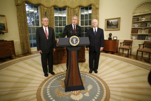 On November 8, 2006, President George W. Bush announced the resignation of Secretary Donald  Rumsfeld, and his nomination of Dr. Robert M. Gates as his successor.  Today marks the retirement of Secretary Gates.  During an Armed Forces Farewell Tribute at the Pentagon, President Obama presented Gates with the highest civilian honor, The Presidential Medal of Freedom. -image via the George W. Bush Presidential Library
