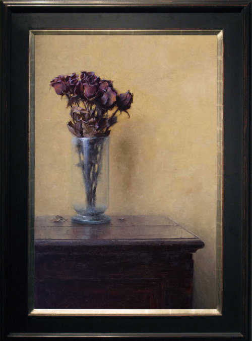 "Jeremy Lipking, ""Flowers on the Table,"" Oil on Linen, 30"" x 20"""