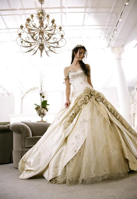Wedding dress w/ subtle floral accents. Love.