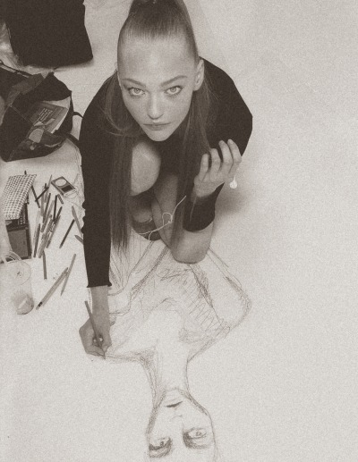 Sasha Pivovarova and her artwork featured in Russh Magazine September 2010