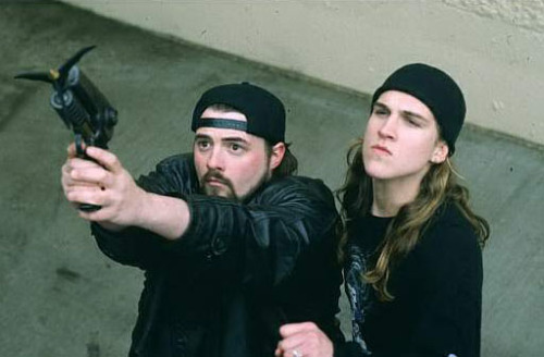 Jay and Silent Bob shooting a grappling hook.