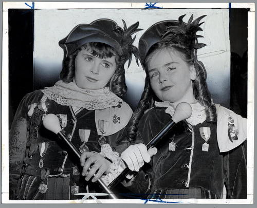 Two of the lassies from Bob Barrett's Pipers and Drummers- Josephine Barrett age 10 and Madeline Ryan age 10, New York City. 1955