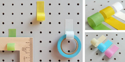3 x Tape Strip HooksA simple but genius idea - paper hooks which look like a strip of curled tape. Each set has three hooks in different colours. Peel off the back and adhere to whatever you fancy. They're surprisingly strong and are perfect for your office wall. Each hook measures 1.5×1.7×4.5cm. Choose your colours.Packaged in a branded card box.