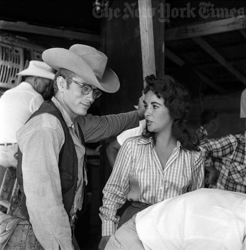 theglamourage:  Elizabeth Taylor and James Dean on the set of Giant.