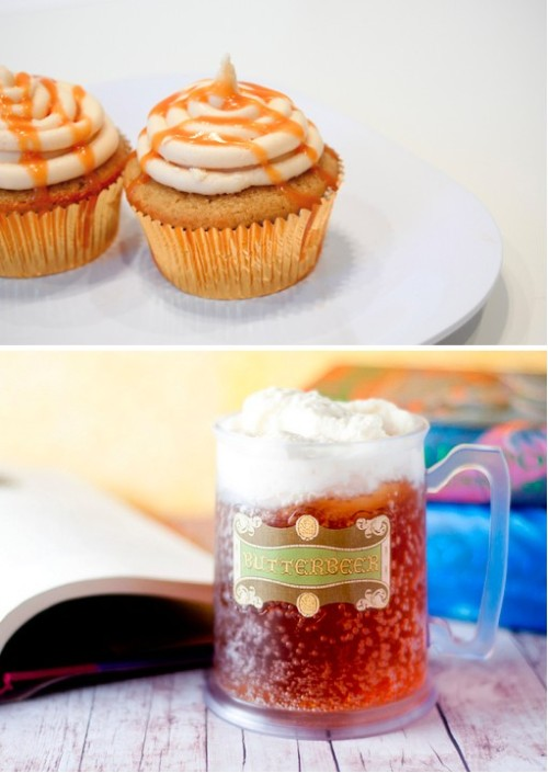 Oh my goodness. Homemade Butterbeer Cupcakes paired with homemade Butterbeer.  Is this heaven?