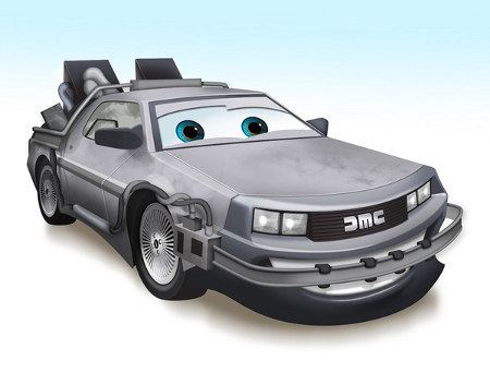 Delorean - Other Famous Cars As Pixar Cars Characters (via Geekologie)