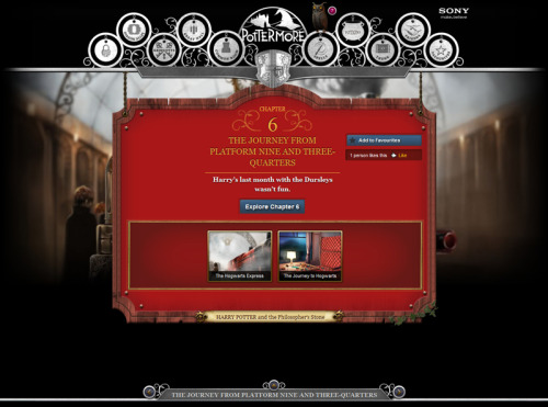 First preview for what's to come in the Pottermore site: an introduction to Book 1, Chapter 6 (The Journey From Platform Nine and Three Quarters). Look at the menus! Spells, Potions, Trunk, Friends (friends!), Favorites…. This really is going to be a fun, exciting, interactive, and magical experience.