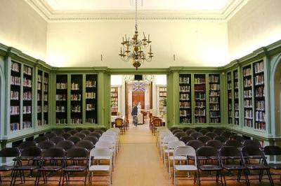 This is a picture of the Redwood Library, in Newport, RI. This is the main and oldest part of the library. I went here on a class trip this semester. Books in this room are part of the original collection, from the 1700s, and they are organized simply by size! Their call numbers correspond to the bookcase, shelf, and place on the shelf. Cool, huh?