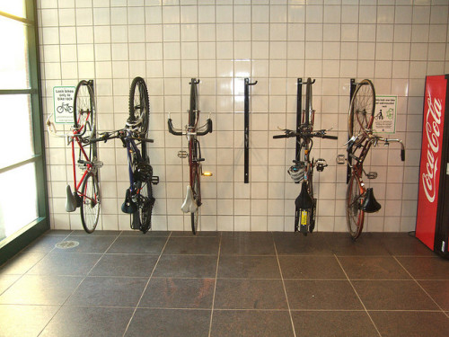 Wall mounted bike racks at Damen Brown Line on Flickr.This is a really popular photo. 2,000 views. Not sure why people view it so often. It's not like the only photo of a wall-mounted bike rack…