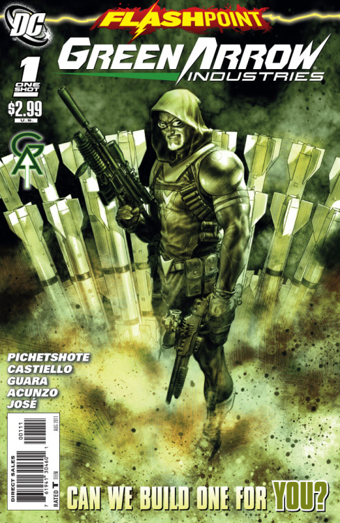 Flashpoint: Green Arrow Industries One-Shot Score: 7/10 Everyone else has been pretty messed up in this new FLASHPOINT universe, so I was wondering what would happen to Ollie Queen. This FLASHPOINT tie-in opens with Oliver Queen making a business presentation. His business has ben going around collecting super villain's weapons and turning them into weapons for the government. His presentation ends with him revealing his newest weapon, the Green Arrow Missiles. His head of security believes that he is destined for greater things, and of course much like the other FLASHPOINT tie-ins this is when things go to hell. A group of assassins break in killing everyone but Ollie, who decides he has the technology to take them down. After a dramatic showdown his security team shows up and so ends Oliver Queen's brush with death. This issue was a pretty decent one-shot. I was hoping for more, but the story had a good plot. The problem was that it dragged. I understood it was more about he story and less about the action, but the dialogue seemed to really drag. The art was really great, especially because it was split between two teams with fairly seamless transitions. Overall this was a pretty good issue, not the strongest tie-in but definitely not the weakest either. If you are a big Green Arrow fan and are reading the main FLASHPOINT series this is a really good pick up.