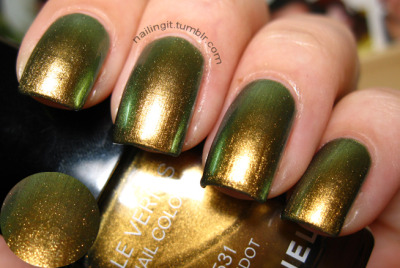 nailingit:  chanel - peridot i could NOT wait to wear this. thought about it all evening and now i'm awake at 1 am oogling my finger nails. i love that my nails look like metal and the flashing between gold and green is sooooo mesmerizing. love.