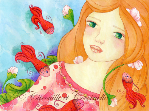 "Illustration ""Ophelia"" médium : gouache et crayon de couleur"