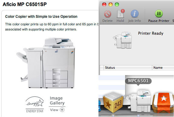 OS X - The print queue icon matches the actual make and model of the printer/copier you are printing to. /via werm