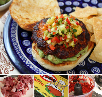 Our spin on Mexican street food spikes a ground pork burger with ancho peppers, and finishes with a pineapple salsa Recipe