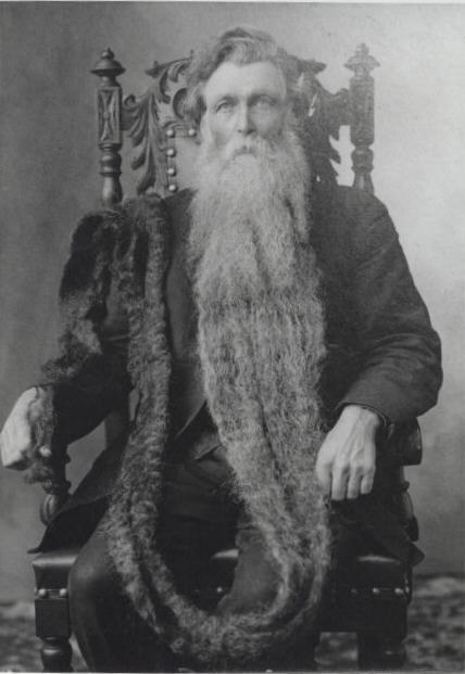 Hans Langseth (1846 - 1927), a.k.a. King Whiskers, holds the record for the world's longest beard at 18 feet 6 inches long