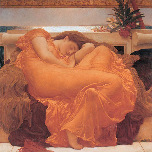 Flaming June by Lord Frederic Leighton, 1895. When researching art, Wikipedia is only usually any good for dates and locations. However, every now and again theres a snippet of information that is really quite interesting. For example here, the Oleander tree branch in the top right is a poisonous specimen and symbolises the closeness between deep sleep and death. Pretty sinister!