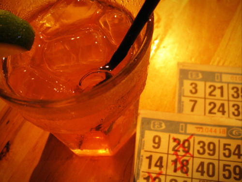 I had a blast playing bingo at Matador Cantina last night! It was hosted by a hilarious drag queen in her best 4th of July outfit. (You'll have to use your imagination). No wins, but the Georgia Peach margarita was yummo. Photo credit: Lush Lady