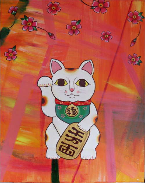 Maneki Neko - acrylic & oil on canvas.