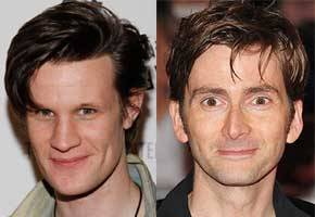 doctorwho:  Doctor Who's Matt Smith, David Tennant, Karen Gillan, Elisabeth Sladen Vie for TVChoice Best Actor/Actress Crowns  We all love a good awards ceremony, don't we? Especially when our  affections are split between two equally worthy nominees, as they will  be at the TVChoice Awards, which take place in London on September 13. Current Time Lord Matt Smith is up for Best Actor for his role on Doctor Who, of course. But get this! The other nominees include David Tennant for the BBC drama Single Father, Sherlock's Benedict Cumberbatch, Colin Morgan for Merlin.  Wow! Doctor Eleven is battling Doctor Ten, Sherlock Holmes and Merlin  the wizard for supremacy. That's less a nominations list and more a long  row in a pub between geeks. And that's not the last split loyalty we shall have to endure; Karen Gillan is nominated for Best Actress, and so is Elisabeth Sladen. So Doctor Eleven's best companion is pitted against Doctor Four's. Doctor Who is also, slightly less controversially, nominated for Best Family Drama, alongside Merlin, Casualty and Waterloo Road.  via Anglophenia  What on earth? (No, really, it's on earth.) This isn't fair…… Oy vey…..Pssssst! Is it just me or does it look like David's eye is twitching in the picture? ^