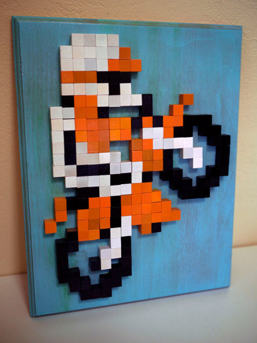 "Excite Bike 8-bit Wood Mosaic - by 8Bit Monkey This is a one of a kind piece and won't be exactly the same as any other. This is on a 11x14"" plaque and is sealed and ready to hang. Available at Etsy."