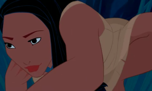 Pocahontas sneaking around John Smith, from Disney's Pocahontas