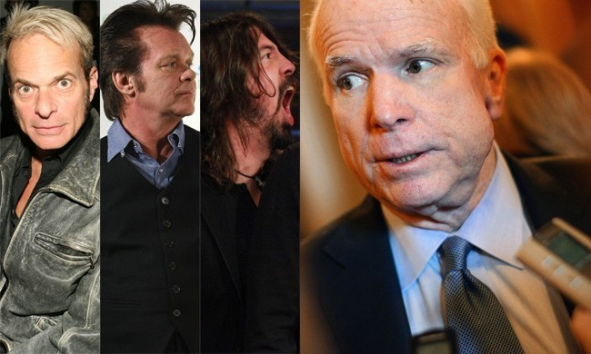 "When it comes  to politicians borrowing music without permission, John McCain is a repeat offender. He's been knocked for using ""Right Now,"" ""Our  Country,"" ""Pink Houses,"" ""My Hero,"" and ""Running on Empty."" During the  2008 race, Van Halen, John Mellencamp, the Foo Fighters, and Jackson Browne  all ordered McCain to stop using their songs, with Browne suing him for  $75,000. This week, Tom Petty told Michele Bachmann that she couldn't use ""American Girl"" on the campaign trail. Here's a slideshow of other rockers and the politicians they've sparred with."