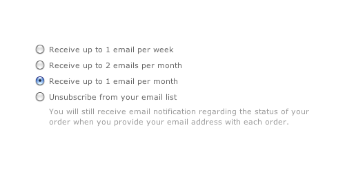 West Elm - Gives you the option to just dial down email frequency when unsubscribing from their newsletter. /via Jacob