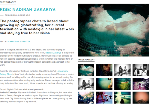 Dazed and Confused Mag does a spread on photographer Nadirah Zakariya and shows off her work with a LOMO LC-A!