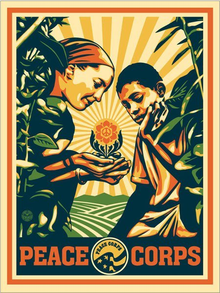 """I'm inspired by the work of Peace Corps Volunteers around the world. Volunteers share their creativity and compassion with their local communities. I hope this print inspires the next generation of Volunteers."" - Shepard Fairey  Fairey has a personal connection with the Peace Corps through his sister, who served as a Volunteer in Togo."