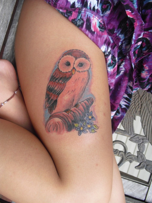 this is my new beautiful owl! i got him yesterday (june 30th) , so its still really red, but I love it! I've always loved Owls, they just have a mystery about them, at first i wanted it to be huge and cover my whole thigh, but then when I saw how the artist drew it up and how smaller it was, I loved it more. It's my 8th tattoo, but my first colored piece and I could not be happier! I plan on getting a night scene added behind it in the future.