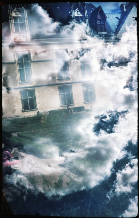 Clouds/Chateau Double Exposure | Shot with a Moskva 5 and Fujichrome Provia 100 F