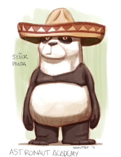 "Astronaut Academy fan art of Señor Panda by Dan Santat! Dan is the illustrator of several amazing picture books including ""Oh No! (Or, How My Science Project Ruined The World)"" and has a brilliant new graphic novel called ""Sidekicks"" that was released today. The easiest way to describe ""Sidekicks"" is to say it's like Pixar's ""The Incredibles"" with hilarious animal characters and beautifully rendered art. But there is also a lot of heart to the book and I think it's going to be a huge hit!  Check out his website: http://www.dantat.com/"