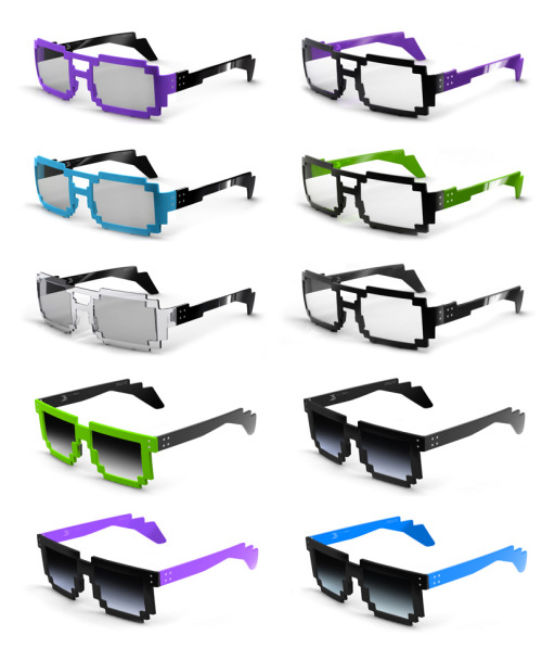 it8bit:   8-bit Glasses - by 6DPI Acetate frame. Handmade. Designed in France. The design clearly refers for late 1980s computerized graphics and video games such as Tetris. While computer images and graphics have been revolutionized over the past two decades, these glasses are reminiscent of society's digital roots and how technology has inspiredalmost everything in use today.  Order your pair here. Blog || Shop || Twitter || Facebook  DO WANT!