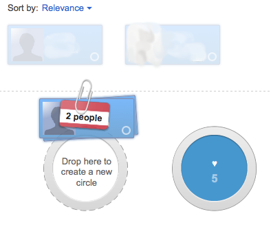 Google+ - When you drag more than one person onto a circle, it bundles your selected contacts while dragging. /via postinspiration