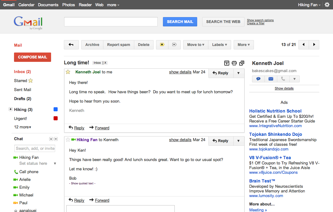 "A preview of Gmail's new look Gmail blog Over the years, adding countless features to Gmail has made it an increasingly powerful communication hub, but along the way the interface has also become more cluttered and complex. That's one of the reasons we're embarking on a series of interface updates to help strip out unnecessary clutter and make Gmail as beautiful as it is powerful. This is part of a Google-wide effort to bring you an experience that's more focused, elastic, and effortless across all of our products. I must say I love the new design, I am really happy Google is finally spending time and effort to make their products beautiful! You can preview the themes today by going to Gmail Settings -> Themes, the themes are ""Preview"" and ""Preview""(Dense). update: Edited quote."