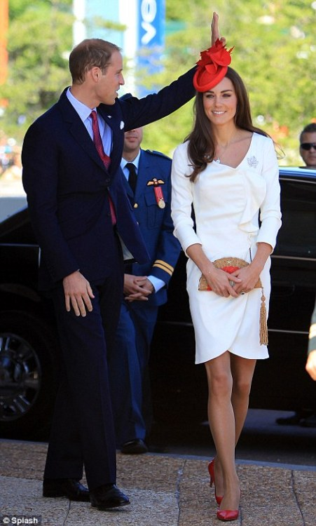 myprettylittlewishlist:  The Duke and Duchess of Cambridge in Canada on Canada Day, the latter wearing the Reiss dress she wore for her engagement photo, paired with a red Lock and Co fascinator. On any other day, a bit too bold and brash; for Canada Day, fun but more importantly, appropriate and still fashionable. Clearly I love the Royal Family, and have a major soft spot for the stunning Kate Middleton.