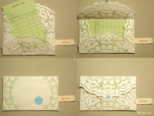 craftjunkie:  Doily Envelops {How To} Nice ideas. :] Found at: http://www.daydreamlily.com